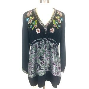 Johnny Was black floral embroidered tunic M